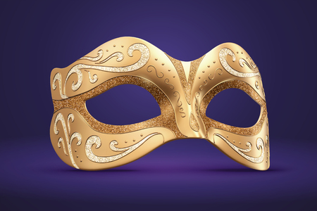 Venice Carnival mask with golden particle in 3d illustration