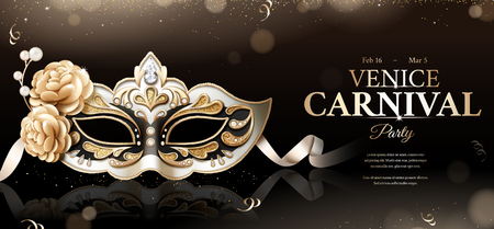Venice carnival party banner with sumptuous mask on black bokeh background in 3d illustration