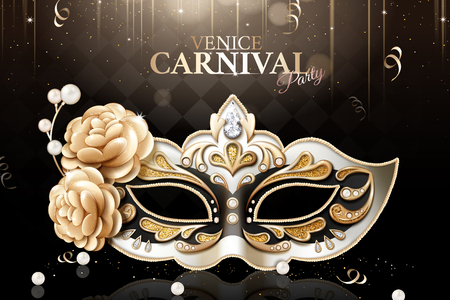 Sumptuous Venice carnival party mask with floral and glittering decorations on black background in 3d illustration