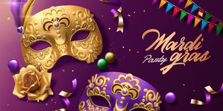 Vista superior del diseño del carnaval de mardi gras con máscaras doradas y banderas de colores en la ilustración 3d
