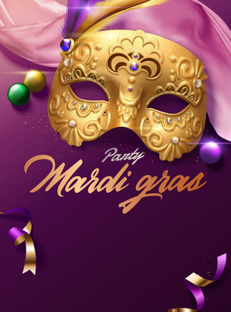Mardi gras carnival poster with golden mask and pink satin decoration in 3d illustration Illustration