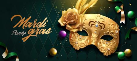 Mardi gras banner design with golden mask, streamer and balls on green rhombus background in 3d illustration Illustration