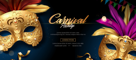 Mardi gras banner with golden luxurious mask and feathers in 3d illustration Ilustração