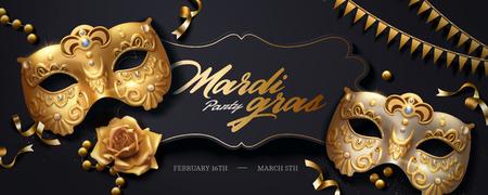 Banner de mardi gras con máscara de lujo dorada y serpentinas en ilustración 3d, ángulo de vista superior