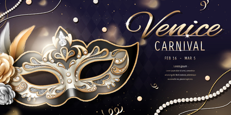Venice carnival banner design with beautiful mask in 3d illustration, bokeh rhombus background Ilustracja