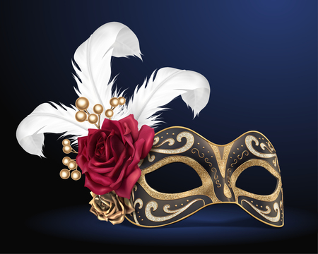 Carnival beautiful mask with feathers and roses in 3d illustration 일러스트