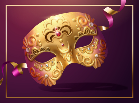 Golden luxurious mask with streamer in 3d illustration