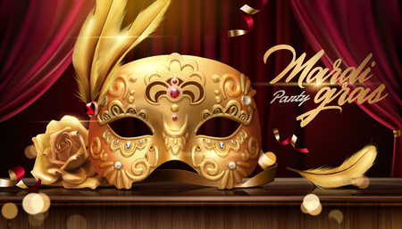 Mardi gras banner with golden luxurious mask in 3d illustration on stage background, bokeh effect Ilustracja