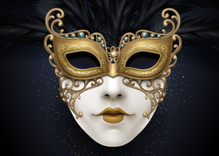 Carnival beautiful mask in 3d illustration with golden color particles