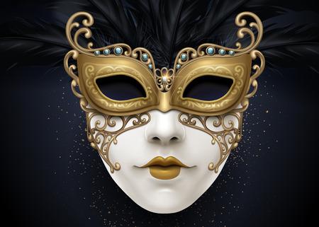 Máscara de carnaval hermosa en ilustración 3d con partículas de color dorado Ilustración de vector
