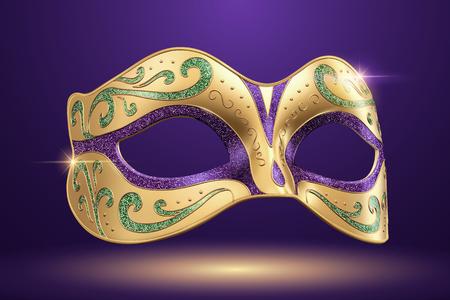 Máscara de carnaval hermosa en la ilustración 3d sobre fondo púrpura