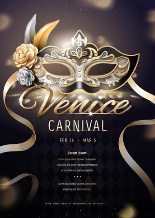 Diseño de carteles de carnaval de Venecia con hermosa máscara en ilustración 3d, fondo bokeh
