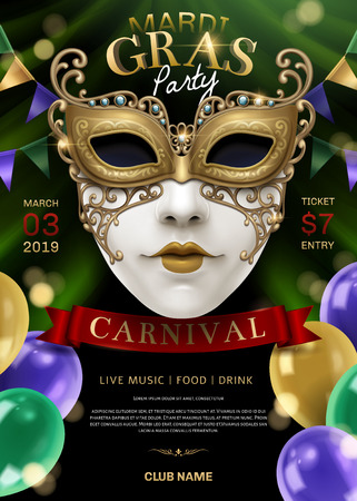 Mardi gras party with white mask and balloons in 3d illustration, glittering bokeh background