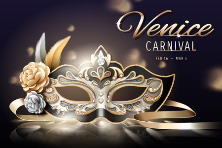 Venice carnival design with beautiful mask in 3d illustration, bokeh background