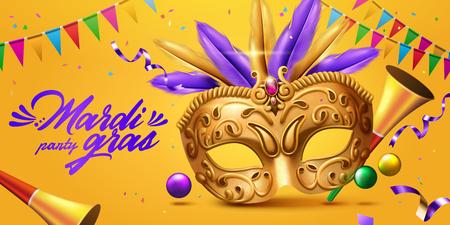 Banner de mardi gras con máscara dorada y cuerno de fiesta en ilustración 3d