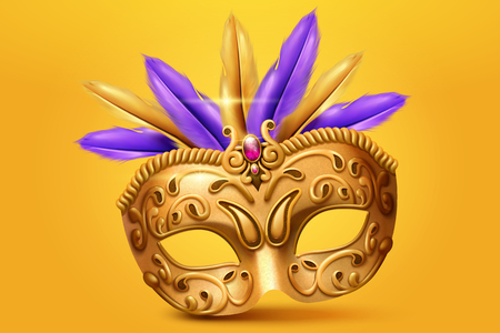 Golden mask and feather in 3d illustration on yellow chrome background