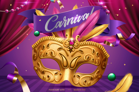 Mardi gras party with golden mask and feather in 3d illustration, stage background Иллюстрация