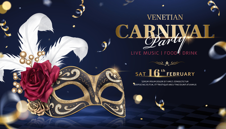 Venetian carnival banner with luxurious mask and streamers in 3d illustration Ilustrace