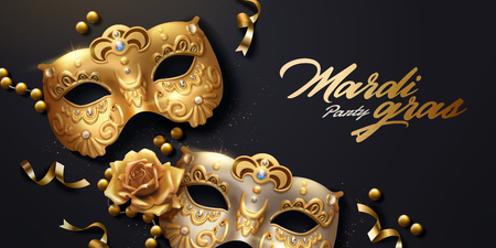 Mardi gras banner with golden luxurious mask and streamers in 3d illustration, top view angle