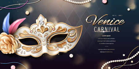 Venice carnival banner design with beautiful mask in 3d illustration, bokeh rhombus background 일러스트