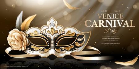 Venice carnival banner with glittering mask in 3d illustration, bokeh background