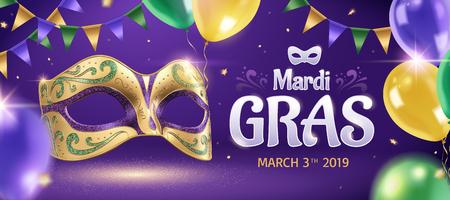 Bannière de mardi gras avec masque doré et ballons en illustration 3d, fond de fête