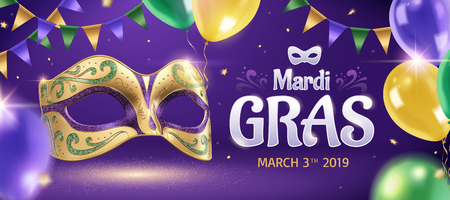 Mardi gras banner with golden mask and balloons in 3d illustration, party background