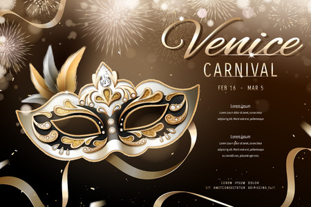 Venice carnival design with beautiful mask in 3d illustration, firework bokeh background Ilustracja