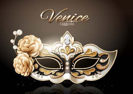 Venice carnival glittering mask in 3d illustration  イラスト・ベクター素材