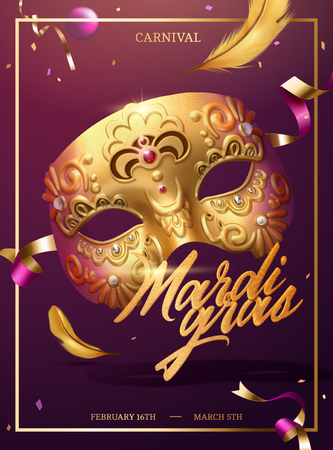 Mardi gras poster with golden luxurious mask and confetti in 3d illustration