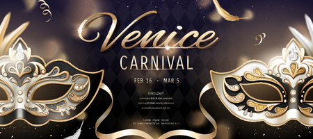 Venice carnival banner design with beautiful mask in 3d illustration, bokeh rhombus background 向量圖像