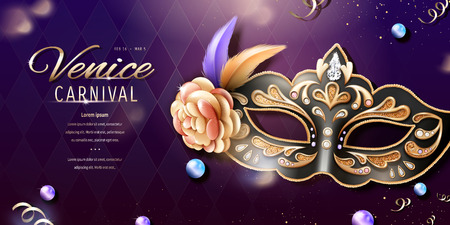 Venice carnival banner design with beautiful mask in 3d illustration, bokeh rhombus background Illustration