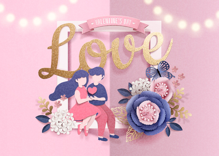 Happy Valentines Day with dating couple and paper flowers frame in 3d illustration
