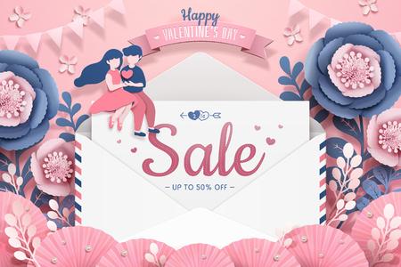 Buon San Valentino con lettera d'amore e coppia di appuntamenti nel giardino fiorito di carta, illustrazione 3d Vettoriali