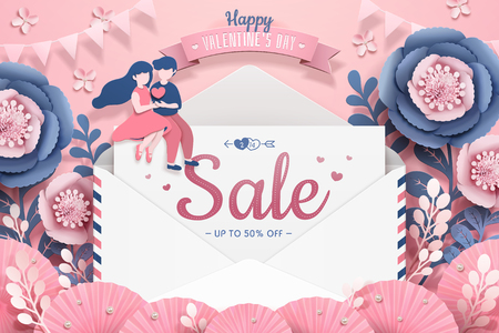 Happy Valentine's Day with love letter and dating couple in paper flower garden, 3d illustration