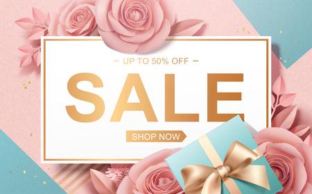 Saldi di San Valentino con rose di carta e scatole regalo in illustrazione 3d