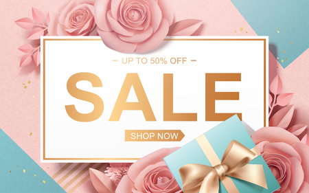 Valentines Day Sale with paper roses and gift boxes in 3d illustration