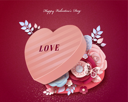 Happy Valentines Day heart shaped gift box with paper flowers decorations in 3d illustration