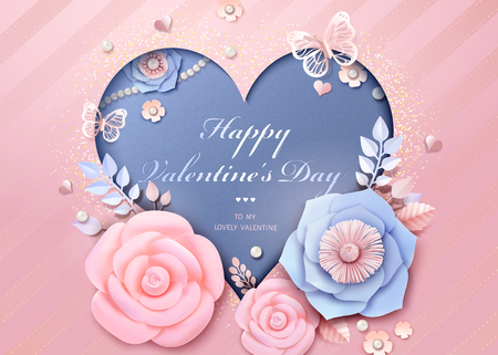 Happy Valentines Day heart shaped template with paper flowers decorations in 3d illustration
