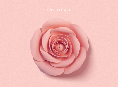 Paper pink roses in 3d illustration, top view