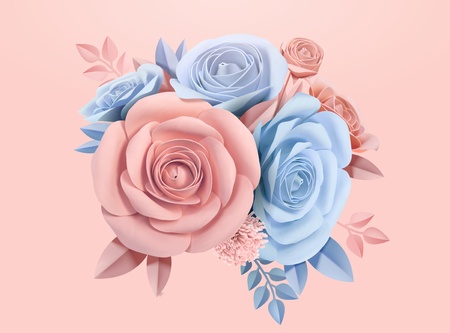 Paper roses in light blue and pink, 3d illustration Ilustração