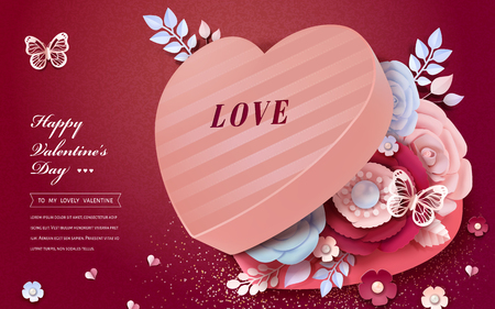 Happy Valentine's Day heart shaped gift box with paper flowers decorations in 3d illustration Foto de archivo - 125851626