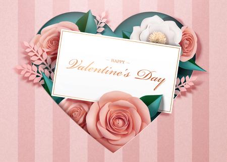 Feliz día de San Valentín con flores de papel y plantilla de tarjeta en ilustración 3d Ilustración de vector