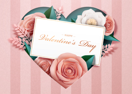 Happy Valentine's Day with paper blossoms and card template in 3d illustration