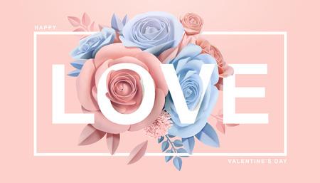 Alles Gute zum Valentinstag mit Papierblüten in 3D-Darstellung