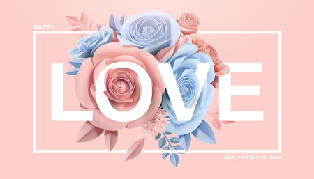 Happy Valentines Day with paper blossoms in 3d illustration