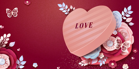 Happy Valentines Day banner design heart shaped gift box with paper flowers decorations in 3d illustration