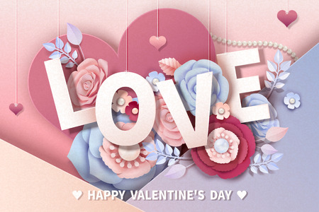 Happy Valentines day design with paper flowers and hanging love words, 3d illustration