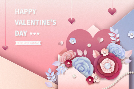 Valentines day design with paper flowers jumping out of envelope, 3d illustration  イラスト・ベクター素材