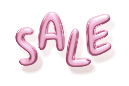 Glossy sale balloon words on white background in 3d illustration